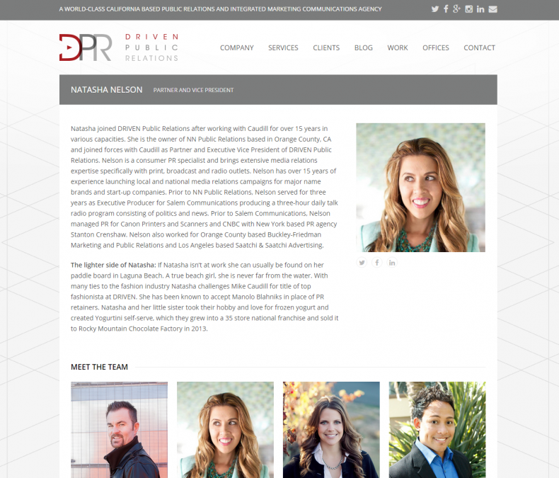 DRIVEN Public Relations Team Profile Layout